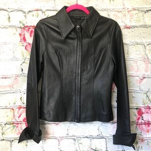 100% Leather Form Fitting Vintage Jacket Small